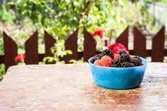 Amoras-pretas saborosos em uma tabela de madeira Foto de Stock