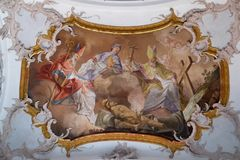 Amorbach abbots and bishops of Verden: and martyrs: Saint Suitbertus, Patto and Issingerus. Fresco by Matthaus Gunther in Benedictine monastery church in Royalty Free Stock Photos