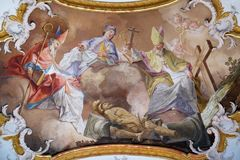 Amorbach abbots and bishops of Verden: and martyrs. Saint Suitbertus, Patto and Issingerus, fresco by Matthaus Gunther in Benedictine monastery church in Royalty Free Stock Images