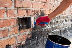 Amorce couverte de mur de briques Images libres de droits