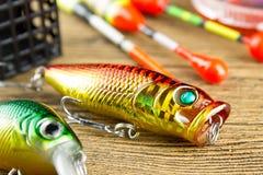 Amorce de rotation pour pêcher sur le fond en bois Images libres de droits