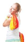Amorce positive d'acclamation de femme de sourire Photo libre de droits