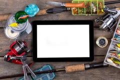 Amorces d'articles de pêche de cadre de maquette sur en bois Photo stock