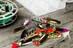 Amorces de bobine et de fer de Fishig Photographie stock libre de droits