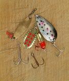 Amorces de pêche à la ligne en métal Photographie stock