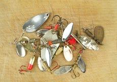 Amorces de pêche à la ligne en métal Photographie stock libre de droits