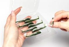 Amorces de silicone dans des mains femelles Image stock
