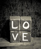 Amore afflitto di legno dei blocchi Fotografia Stock Libera da Diritti