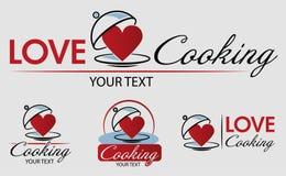 Amore che cucina Logo Template Bon Appetit Illustrazione disegnata a mano di vettore Può essere usato per i distintivi, le etiche illustrazione di stock