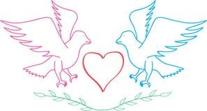 Amore con l'uccello Fotografia Stock