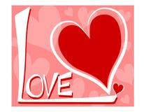 Amore con la scheda di giorno del biglietto di S. Valentino dei cuori Fotografia Stock
