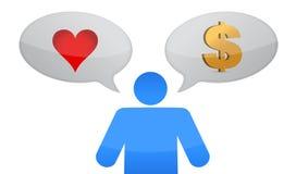 Amore contro il disegno dell'illustrazione di decisione dell'icona dei soldi Fotografie Stock Libere da Diritti