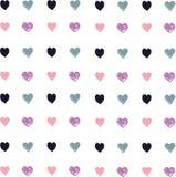 Amore Cuore dissipato con una spazzola Cuori Reticolo con i cuori royalty illustrazione gratis