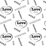 Amore d'argento nero per sempre esprimete il fondo del modello Immagini Stock Libere da Diritti