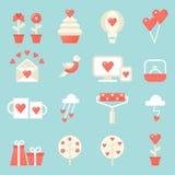 Amore, datazione, icone di relazioni messe St Giorno del biglietto di S Fotografia Stock Libera da Diritti