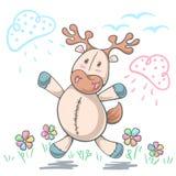 Amore dei cervi dell'orsacchiotto - illustrazione divertente del fumetto royalty illustrazione gratis