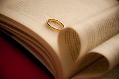 Amore del cuore con un anello di fidanzamento Immagini Stock