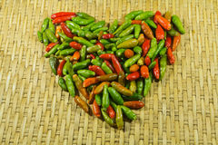 Amore del cuore del peperoncino rosso Immagine Stock Libera da Diritti