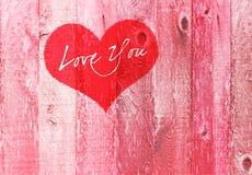 Amore del cuore di giorno di biglietti di S. Valentino voi legno rosa di Gretting di festa Immagini Stock Libere da Diritti