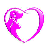 Amore del cuore di rosa del gatto del cane Fotografia Stock