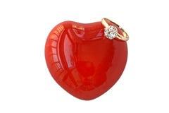 Amore del cuore ed anello di diamante Fotografie Stock Libere da Diritti