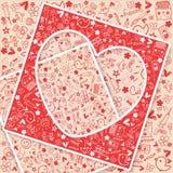 Amore del cuore - raccolta di scarabocchi Immagini Stock