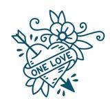 Amore del cuore uno nello stile tradizionale del tatuaggio della vecchia scuola royalty illustrazione gratis