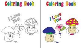 Amore del fungo del libro da colorare Fotografia Stock Libera da Diritti