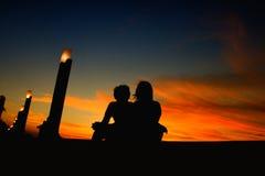 Amore del tramonto Fotografia Stock