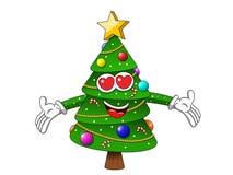 Amore dell'abbraccio del carattere della mascotte dell'albero di Natale di natale grande isolato su wh Immagine Stock