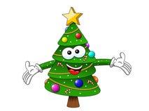 Amore dell'abbraccio del carattere della mascotte dell'albero di Natale di natale grande isolato su wh Fotografia Stock Libera da Diritti