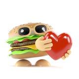 amore dell'hamburger 3d Fotografia Stock Libera da Diritti