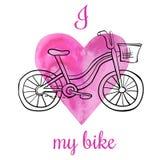 Amore dell'illustrazione I di vettore la mia bici Fotografia Stock Libera da Diritti