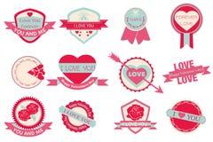 Amore dell'insieme di etichetta e San Valentino felice Immagini Stock