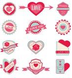 Amore dell'insieme di etichetta e San Valentino felice Fotografie Stock