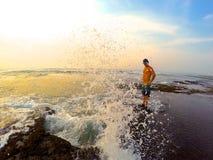 Amore dell'oceano di tramonto Fotografia Stock