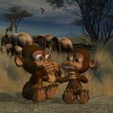 Amore della scimmia Immagine Stock
