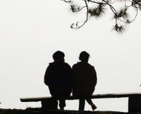 Amore delle coppie della siluetta Fotografie Stock