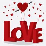 Amore delle lettere con i coriandoli del cuore. Fotografia Stock