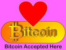 Amore di Bitcoin - segno accettato Fotografia Stock