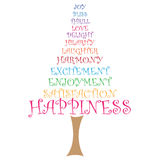 Amore di gioia dell'albero di parola di felicità Fotografia Stock Libera da Diritti