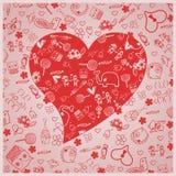 Amore di giorno del ` s del biglietto di S. Valentino - cuori - raccolta di scarabocchi illustrazione vettoriale