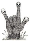 Amore di simbolo della mano di arte del cranio Fotografia Stock Libera da Diritti