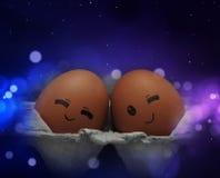 Amore di tatto di due uova Immagini Stock