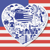 Amore di U.S.A. Isolato stabilito con le icone ed i simboli americani di vettore nella forma di cuore Immagini Stock