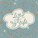 amore di vita mio Arte d'annata romantica variopinta Iscrizione blu della mano sul fondo del modello Fotografia Stock