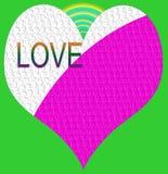 amore e cuore con l'arcobaleno ed il fondo verde Fotografie Stock Libere da Diritti