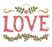 Amore e decorazione di parola Immagini Stock