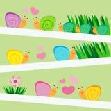 Amore e piccola illustrazione di vettore delle lumache della famiglia Immagini Stock