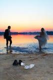 Amore e tramonto Fotografia Stock
